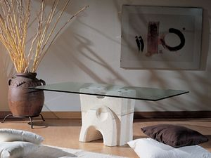 Pesceluna, Table basse avec plateau en verre lié par des brides