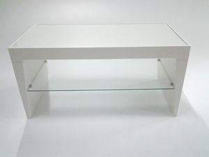 Pop, Table d'appoint moderne, étagère en verre, plateau rectangulaire