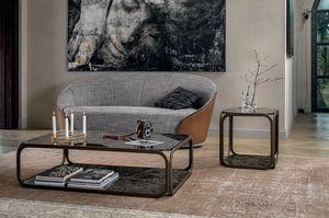 REMIND, Petites tables avec structure en métal, plateau en verre et base en grès cérame