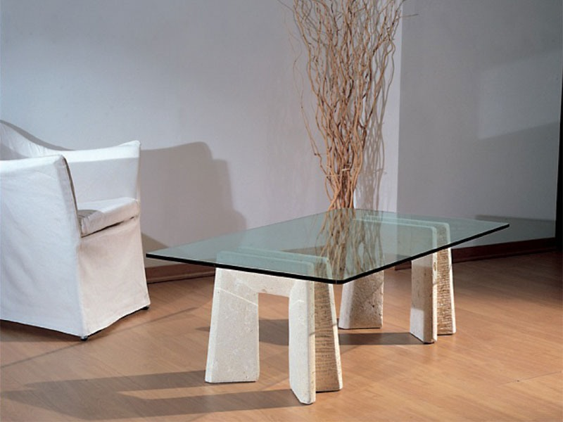 Riflesso, Table avec base en pierre pour la maison et le bureau