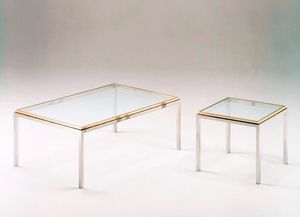 Romano, Tables basses carrés en acier et en laiton, plateau en verre