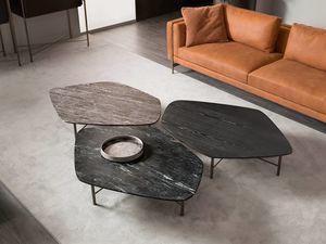 Shangai table basse, Table basse avec base en fer forgé
