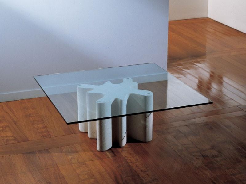 Splash, Table basse avec base en pierre, plateau en verre