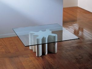 Splash, Table basse avec base en pierre, plateau en verre
