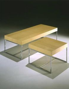 Square coffee table - bench, Table basse avec base tubulaire, pour la réception