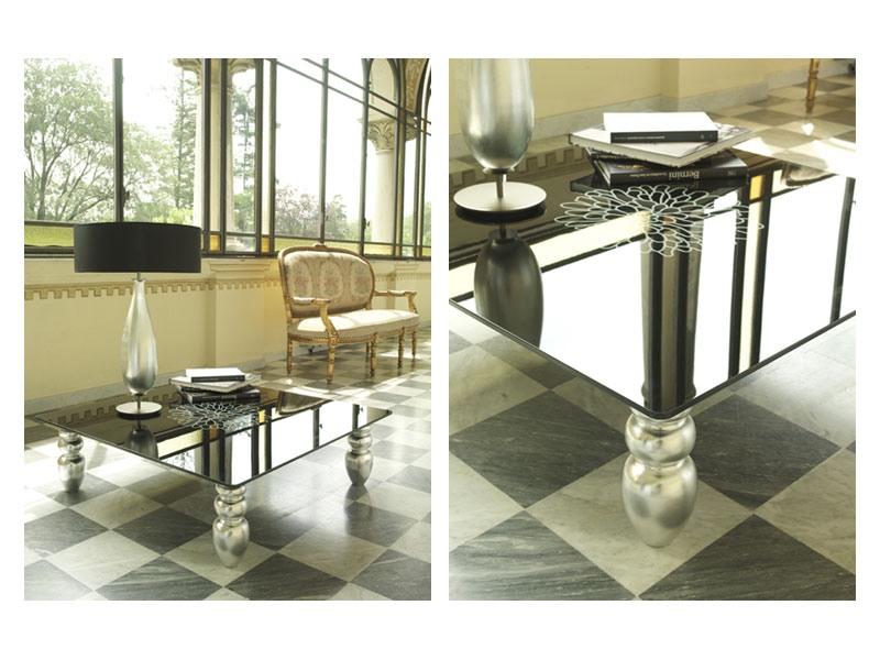 t113 decor, Table basse avec pieds en bois massif, plateau en verre