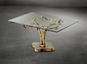 TA/200, Table basse contemporaine avec base en métal et plateau en verre