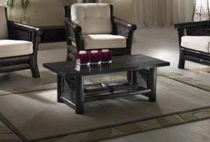 Table basse Osaka black, Table basse ethnique avec porte-revues