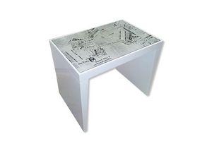 Time, Table stratifié avec dessus journaux imprimés de verre