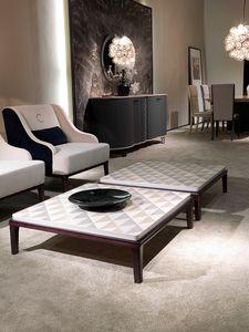 TL61 Square petite table, Table basse carrée pour salon, en bois