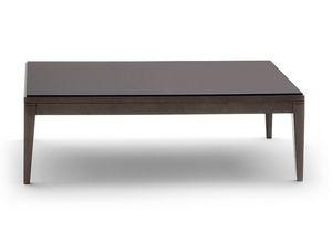 Toffee 813, Table bas rectangulaire avec structure en hêtre massif, laqué verre trempé, pour les environnements dans un style moderne