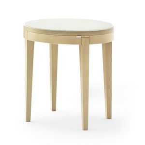 Toffee 883, Table basse ronde avec structure en hêtre, en verre trempé laqué haut, pour les environnements dans un style moderne