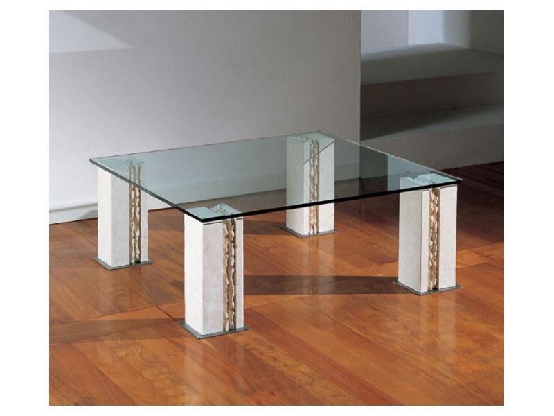 Tracce, Table avec 4 pieds en pierre, top en verre