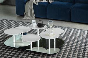 VALENTINE, Table basse avec base en miroir et dessus en métal