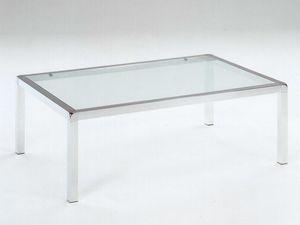 Vega, Table basse en acier inoxydable poli, verre trempé