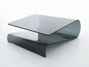 VELO, Table basse en verre incurvé, pour le salon ou la réception