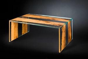 Venezia Big, Table basse en verre, avec sections de briccola