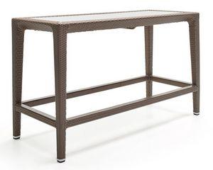Altea table, Table haute en fibre tissée, cadre en aluminium