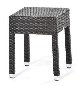 Lotus table d'appoint 1, Table basse en fibres synthétiques tissées, pour une utilisation extérieure