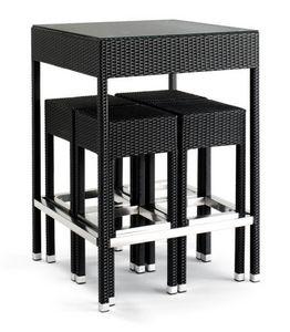 Set 2010, Table en aluminium tressé, avec plateau en verre