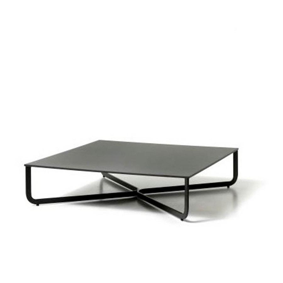 XL, Table basse en tube de métal, plateau en bois laqué