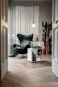 AIRONE, Table basse pivotante, laqué ou recouvert en bois