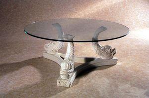Alfeo, Table en pierre, base décorée de poisson