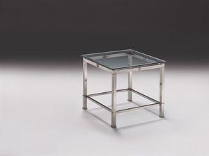 AMADEUS 3064, Table d'appoint moderne en laiton nickelé, plateau en verre, Lounge