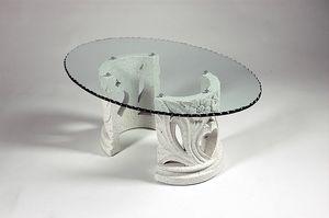 Amos, Table basse de style classique avec plateau en verre