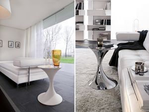 ANDORRA, Table ronde en métal avec plateau en verre