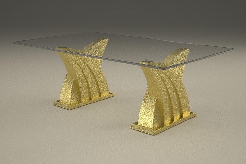 Ares, Table basse avec double base en pierre