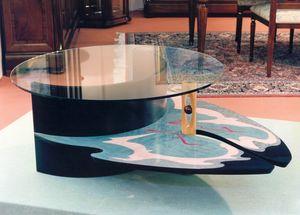 Art. 235, Table basse polychrome avec plateau en verre