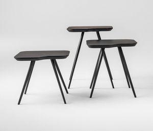 ART. 00102-SMALL-MET AKY, Table basse design avec pieds en métal et dessus de cendres