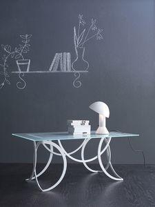 Azzurra petit table, Table en métal moderne avec plateau en verre satiné
