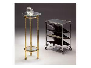BOHEME 964, Table ronde en laiton poli, plateau en verre