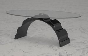 Calipso, Table basse avec plateau en cristal ovale