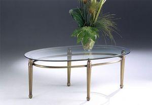 CARTESIO 260, Table ovale de café en laiton, plateau en verre, pour le salon