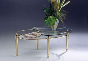 CARTESIO 261, Table basse ovale en laiton, 2 étagères en verre, pour le salon