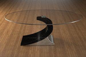 Ciclope, Table basse de salon avec plateau en verre ovale