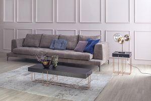 CRUZ, Side et table basse avec structure en métal et plateau en bois