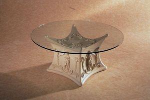 Demetra, Table basse avec base décorée en pierre