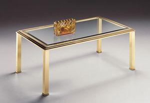 DOMUS 2166, Table basse rectangulaire pour le salon, laiton et verre