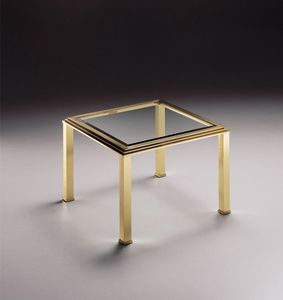DOMUS 2167 , Carrée Table basse, plateau en verre transparent