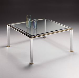DOMUS 2168, Table basse carrée en laiton chromé et le verre avec biseau