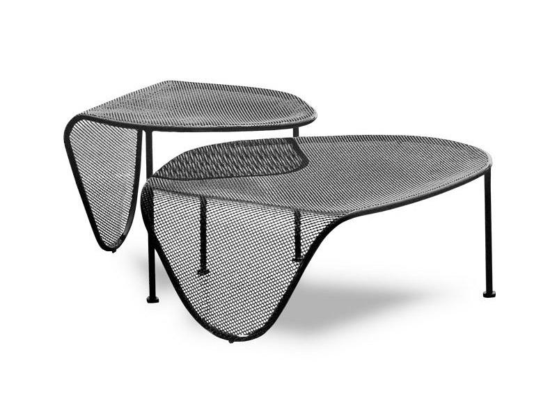 Elitre uno due, Tables en tube métallique, top avec motif moiré, également pour une utilisation en extérieur