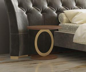 Eos, Table d'appoint ronde en métal et noyer canaletto