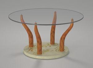 Geko, Table basse avec plateau en verre rond