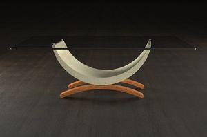 Gordon, Table basse avec base en bois et pierre