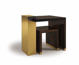 Hopper, Petites tables en ébène et laiton