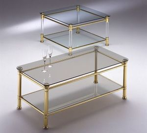 IONICA 664, Brass table basse, en verre transparent, pour le salon